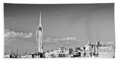 Spinnaker Tower And Round Tower Portsmouth Bw Bath Towel