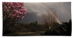 Hand Towel featuring the photograph Spring Rainbow by Katie Wing Vigil