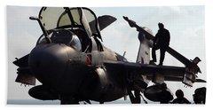 Squadron Personnel Prepare An Ea-6b Hand Towel