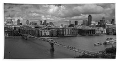 St Paul's And The City Panorama Bw Bath Towel