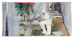 Statuette By Maillol And Red Roses Hand Towel