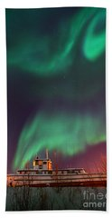 Steamboat Under Northern Lights Bath Towel
