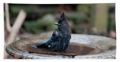 Bath Towel featuring the digital art Steller Jay In The Birdbath by Carol Ailles