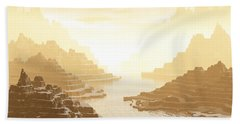 Hand Towel featuring the digital art Misted Mountain River Passage by Phil Perkins