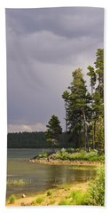 Hand Towel featuring the photograph Storm Clouds Over A Lake by Anne Mott