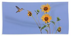 Summer Day Hummingbird Bath Towel