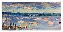 Sun And Clouds In Hudson Hand Towel