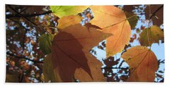 Bath Towel featuring the photograph Sun-lite Fall Leaves by Donna Brown