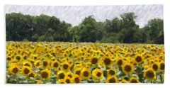 Sunflower Field Bath Towel by Donna  Smith