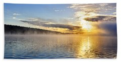 Sunrise On Foggy Lake Hand Towel