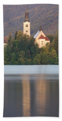 Sunrise Over Lake Bled And The Island Church Bath Towel