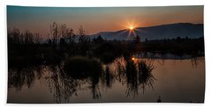 Sunrise Over The Beaver Pond Hand Towel