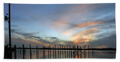 Hand Towel featuring the photograph sunset marina Everglades by Dan Friend