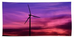 Hand Towel featuring the photograph Sunset Windmill by Alyce Taylor