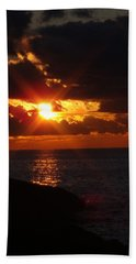 Bath Towel featuring the photograph Superior Sunset by Bonfire Photography