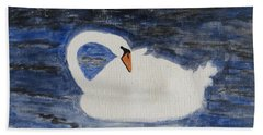 Hand Towel featuring the painting Swan  by Sonali Gangane