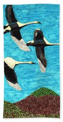 Bath Towel featuring the drawing Swans In Flight by Wendy McKennon