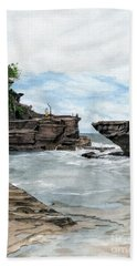 Bath Towel featuring the painting Tanah Lot Temple II Bali Indonesia by Melly Terpening