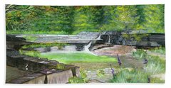 Bath Towel featuring the painting Taughannock Vista Ithaca New York by Melly Terpening