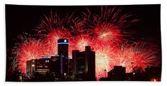 Hand Towel featuring the photograph The 54th Annual Target Fireworks In Detroit Michigan - Version 2 by Gordon Dean II
