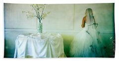 Hand Towel featuring the photograph The Bride Takes A Moment by Nina Prommer