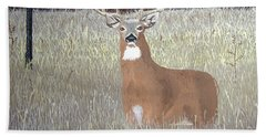 Hand Towel featuring the painting The Buck Stops Here by Norm Starks