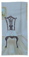 Hand Towel featuring the painting The Chair by Judith Rhue
