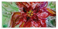 Hand Towel featuring the painting The Christmas Poinsettia by Dragica  Micki Fortuna