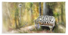 Hand Towel featuring the painting The Garden Bench by Bonnie Willis