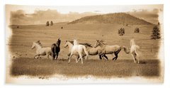 Hand Towel featuring the photograph The Horse Herd by Steve McKinzie