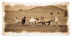 The Horse Herd Hand Towel by Steve McKinzie