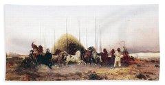 Threshing Wheat In New Mexico Bath Towel