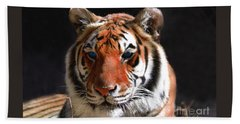 Tiger Blue Eyes Bath Towel by Rebecca Margraf
