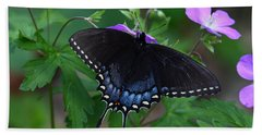 Bath Towel featuring the photograph Tiger Swallowtail Female Dark Form On Wild Geranium by Daniel Reed