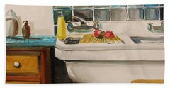 Hand Towel featuring the painting Tile And Porcelein by John Williams