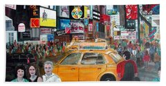 Times Square Hand Towel by Anna Ruzsan