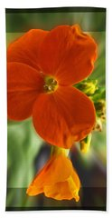 Hand Towel featuring the photograph Tiny Orange Flower by Debbie Portwood