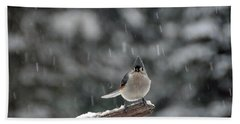 Bath Towel featuring the photograph Titmouse Endures Snowstorm by Mike Martin