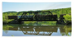 Bath Towel featuring the photograph Train And Trestle by Sherman Perry