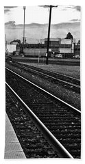Bath Towel featuring the photograph train tracks - Black and White by Bill Owen