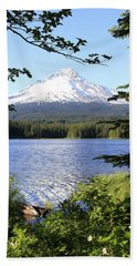 Trillium Lake At Mt. Hood Bath Towel by Athena Mckinzie
