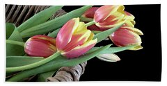 Tulips From The Garden Hand Towel by Sherry Hallemeier
