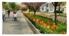 Tulips On The Boulevard Holland Michigan Bath Towel
