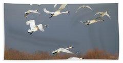 Tundra Swan Takeoff Hand Towel by Mike  Dawson