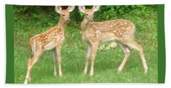 Two Little Deer Hand Towel by Patricia Overmoyer