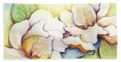 Two Magnolia Blossoms Bath Towel by Carla Parris