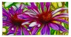 Two Purple Daisy's Fractal Bath Towel