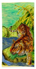 Urbana Tiger In The Outskirts Of Philo Hand Towel
