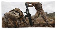 U.s. Marine Drops A Mortar Round Bath Towel