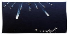U.s. Navy Aircraft Fly Over A Formation Hand Towel